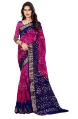 Thankar Pink & Navy Blue Cotton Silk Bandhani Saree Tds165-5006p