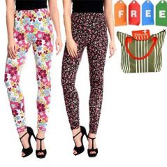 Set Of 2 Colorful Leggings With Free Shopping Bag Pawll9017