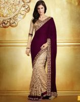 Designer Latest Style Coffee And Cream Saree