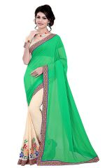 Shree Mira Impex Green Embroidered Georgette Saree Sari (mira-08)