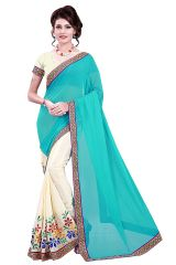 Shree Mira Impex Sky Blue Embroidered Georgette Saree Sari (mira-10)