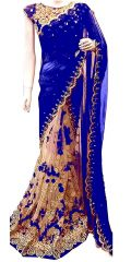 Shree Mira Impex Blue Embroidered Georgette Saree Sari With Blouse Piece (mira-46)