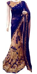 Shree Mira Impex Navy Blue Embroidered Georgette Saree Sari With Blouse Piece (mira-47)