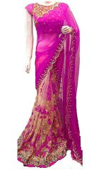 Shree Mira Impex Pink Embroidered Georgette Saree Sari With Blouse Piece (mira-49)