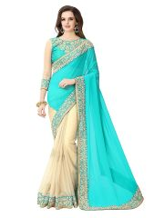Shree Mira Impex Sky Blue Embroidered Georgette Saree Sari With Blouse Piece (mira-62)