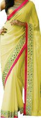 Shree Mira Impex Yellow Georgette Saree Sari With Blouse Piece (mira-66)