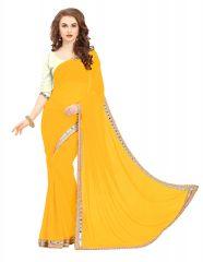 Shree Mira Impex Yellow Georgette Saree Sari With Blouse Piece (mira-59)