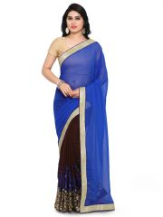 Shree Mira Impex Blue Embroidered Georgette Saree Sari With Blouse Piece (mira-72)