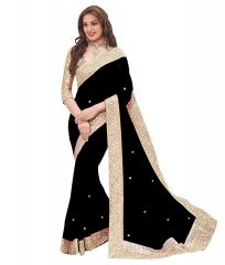 Shree Mira Impex Black Embroidered Georgette Saree Sari With Blouse Piece (mira-77)