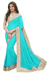 Shree Mira Impex Sky Blue Embroidered Georgette Saree Sari (mira-81)