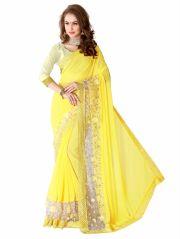 Shree Mira Impex Yellow Georgette Saree Sari With Blouse Piece (mira-15)