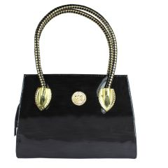 SPERO Women's Stylish Zip lock Casual Shiny Black Handbag