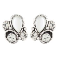 FirstBlush Diva Style Silver Crystal and Stone Clip On Earrings for Non Pierced Ears / Unpierced Ears (code - CLI-STO-WHI)