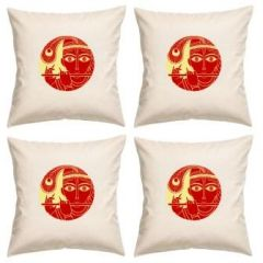 Digital Print Canvas Cushion Cover 16 Inches Set Of 4 By Admire Home (code - Sofa Ahcc021)