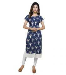 Vedika Creations Cotton & Rayon Blue Color Designer Kurti(Code-VCDUWCKTTC -120)