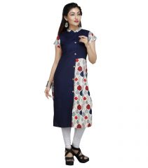 Vedika Creations Cotton & Rayon Blue & Red Kurta Kurti(Code-VCDUWCKTT -157)