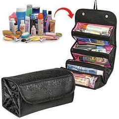 Portable Roll N Go Travel Buddy Cosmetic Bag With Snap-shut Flap & Hang Tag