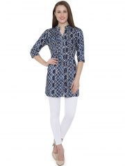 Hive91 Blue Printed Tunic for Women 3/4 Sleeve in Rayon Fabric (Code - RH103TUBU)