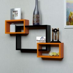 woodworld wooden Intersecting Storage Wall Shelves Rack 3 black and orange