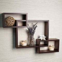 woodworld wooden Intersecting Storage Wall Shelves Rack 3 brown