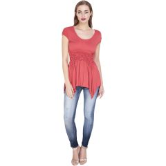 Red Cotton viscose Stretchable Top(Code-SG-TP-001)