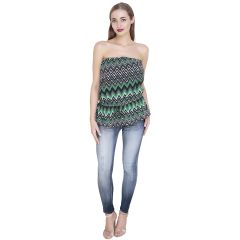 Green Printed Chiffon Tube Top (Code-SG-TP-004)