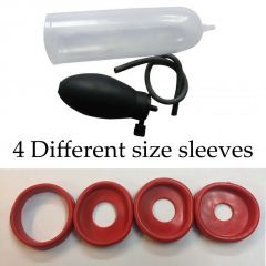 4 Different Size Red Sleeves Penis Enlargement Pump With Oil