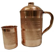 Handmade pure Copper Pitcher Jug and copper water glass set