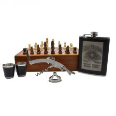 Jim Beam Stainless Steel Hip Flask Set - 1 Hip Flask (8oz), 2 Short Glass, 1 Wine Bottle Opener & 1 Funnel in wooden Chess Box