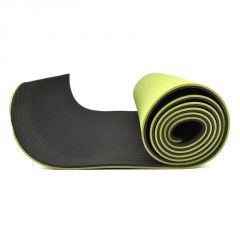Eco-friendly Reversable TPE Yoga Mat, 6mm Thick : 6 Feet x 2 Feet with Free Bag - Green/Black
