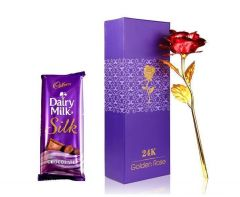 Indigo Creatives Love Gift Faux 24K Golden Plated Red Rose with Cadbury Chocolate