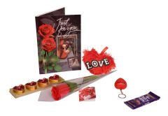 Indigo Creatives Love Gift Faux Red Rose  with Love Greeting Card, Heart, Candle Set, love key chain and Cadbury Chocolate