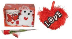 Indigo Creatives Love Gift I Love You Coffee Mug with Teddy Bear, Red Heart and Faux Red Rose