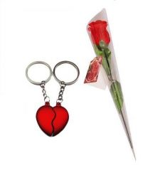 Indigo Creatives Love Gift Couple Hearts Cojoining key chain set  with Red Rose