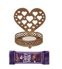 Indigo Creatives Gift Love Heart Shadow Lamp Tea Light Candle Set with Cadburys Chocolate