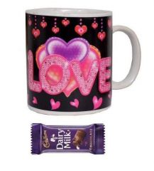 Indigo Creatives Gift Heat Sensitive Color Changing I Love You Coffee Mug with Chocolate