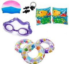 Indigo Creatives Large Size Swimming Ring With Cap,Goggles, Nose and Ear Plug Kids Set Kit