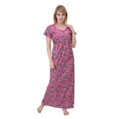 Sleeping Story Women's Poly Cotton Floral Printed Nighty (Code - 10391)