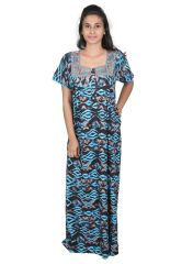 Sleeping Story Blue Printed Rayon Full Length Nighty for Women(Code-20144-C)