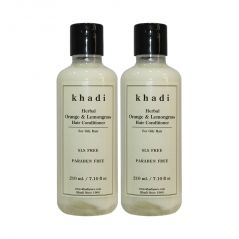 Khadi Herbal Orange & Lemongrass Hair Conditioner SLS-Paraben Free - 210ml (Set of 2)