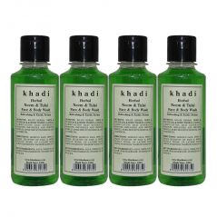 Khadi Herbal Neem & Tulsi Face and Body Wash - 210ml (Set of 4)