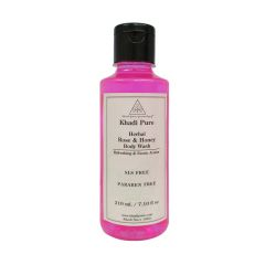 Khadi Pure Herbal Rose & Honey Body Wash SLS-Paraben Free - 210ml