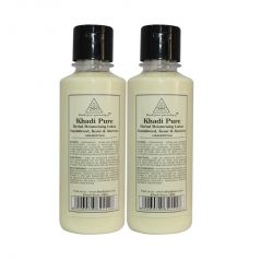 Khadi Pure Herbal Sandalwood, Kesar & Aloevera Moisturising Lotion - 210ml (Set of 2)