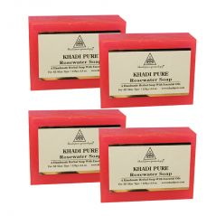 Khadi Pure Herbal Rose Water Soap - 125g (Set of 4)
