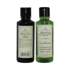 Khadi Pure Neem, Teatree & Basil and Pure Neem Oil Combo (420ml) Pack 2