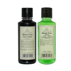 Khadi Pure Amla & Reetha and Green Apple Shampoo Combo (420ml) Pack 2