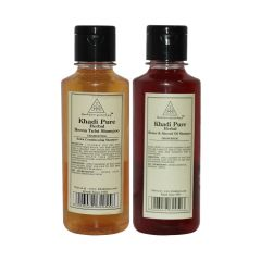 Khadi Pure Henna & Tulsi and Honey & Almond Oil Shampoo Combo (420ml) Pack 2