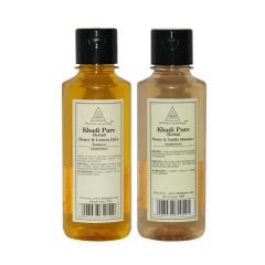 Khadi Pure Honey & Lemon Juice and Honey & Vanilla Shampoo Combo (420ml) Pack 2