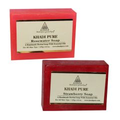 Khadi Pure Rose Water and Strawberry Soap Combo (250g) Pack 2