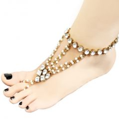 JewelMaze White Glass Stone And Pearl Gold Plated Chain Single Anklet( Code - FAJ0133)